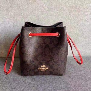 Brown Coach Lena Crossbody With Red Straps